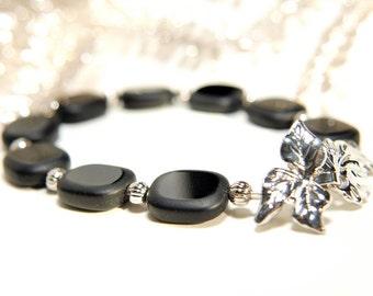 Jet Black Glass Beaded Bracelet