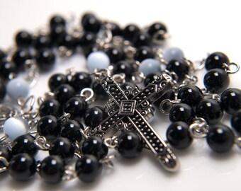 Black Onyx and Cat's Eye Rosary