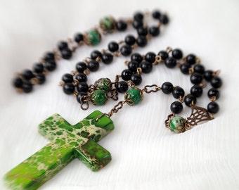 Green Jasper and Black Onyx Gemstone Rosary