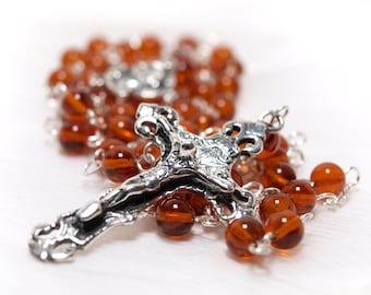 Amber and Sterling Silver Rosary