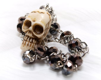 Skull and Metallic Crystal Bracelet with Chain
