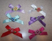 24 Satin Grooming Bows with Flowers --  You Choose Which