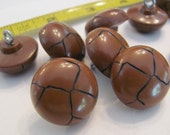 Lot of 10 Vintage Faux Leather Plastic Shank Buttons - Matching