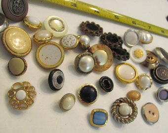Lot of 35 Vintage Gold Metal Plastic Buttons - Assorted (Lot #18)
