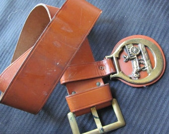 Vintage Ladies Brown Leather Belt Size 30 - Made by Mahler