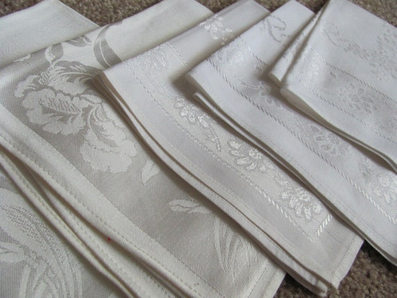 Vintage Set of 8 Damask Cotton Cloth Linen Napkins Mixed Patterns 16 to 20 Inches Off White