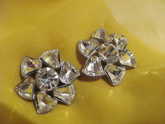 Antique Pair of 2 Large Rhinestone Buttons