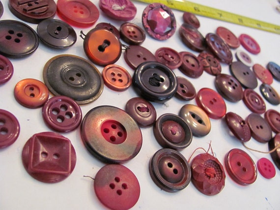 Lot of 50 Vintage BURGUNDY RED Buttons
