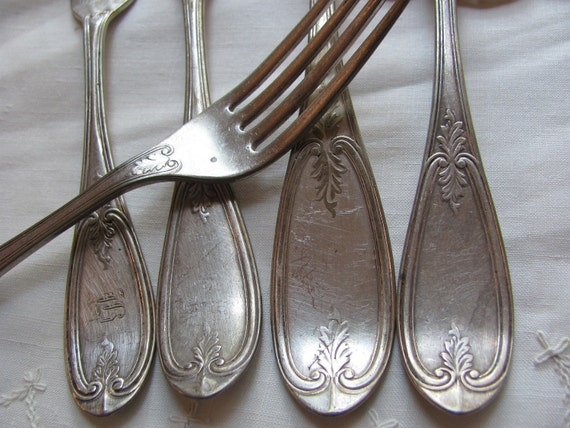 Set of 4 Antique Vintage Silver Plate Dinner Forks and Tablespoon - Olive Pattern 1800s