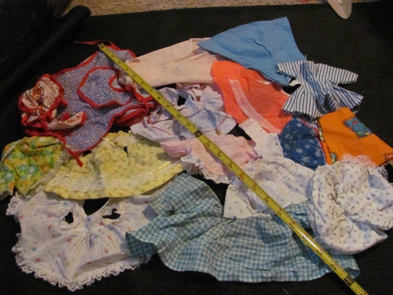 16 Pieces - Lot of Old Vintage or Antique Doll Clothes Dress Skirt Shirt Pants
