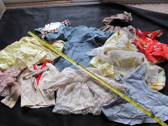 10 Pieces - Lot of Old Vintage or Antique Doll Clothes Dresses Shirt Skirt Pants