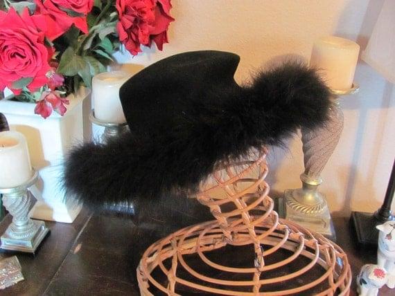 Fancy Vintage Black Wool Felt Feather Hat