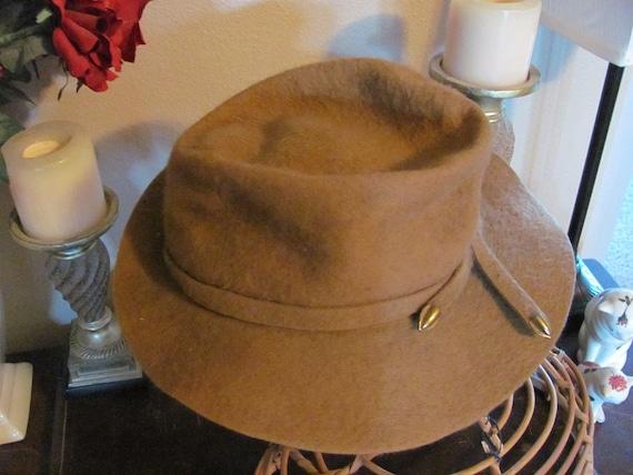 Vintage Men's Retro Brown Felt Wool Hat - By Dobbs for Desmonds