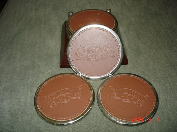 SALE Set of 7 Silver Metal and Leather Chivas Regal Coasters