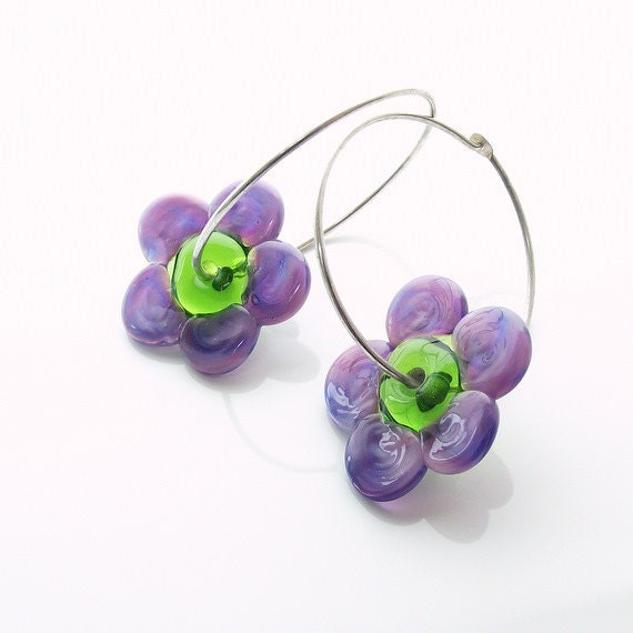 Purple flower earrings, - flower earrings -  lampwork earrings - sterling silver earrings