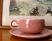 Vintage Russel Wright Demitasse Coral Cup and Saucer