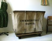 Industrial Factory Laundry Bin Commercial Sized Cart  circa 1940s
