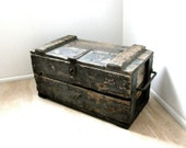 Primitive Industrial Wooden Ingersoll-Rand Tool Box Chest Mfg in New York USA circa 1910s-20s
