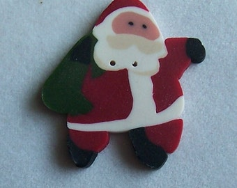 Leaping Santa Polymer Clay Button