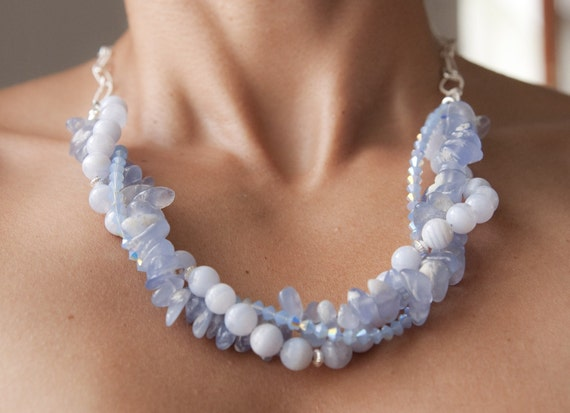 Blue Lace Agate and Swarovski Crystals Multi Strand Sterling Silver Necklace