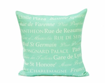 clearance discontinued 50 % off  huge sale destination throw pillow cover aqua cream paris french typography linen decor 18x18