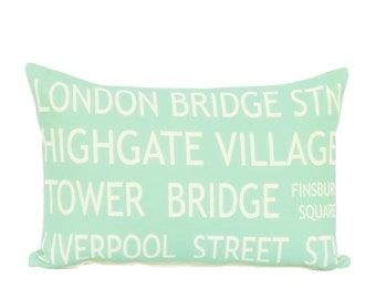 clearance discontinued 50 % off  huge sale pillow cover aqua cream england london bus roll linen 12x18 decor  typography destination throw