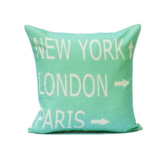 destination throw pillow cover aqua cream paris new york london typography linen decor 18x18
