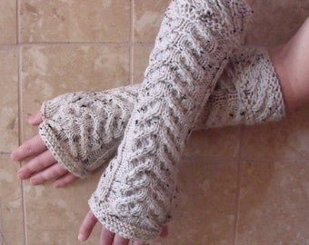 Hand Knit Beige Arm Warmers or Fingerless Gloves - Ready to Ship