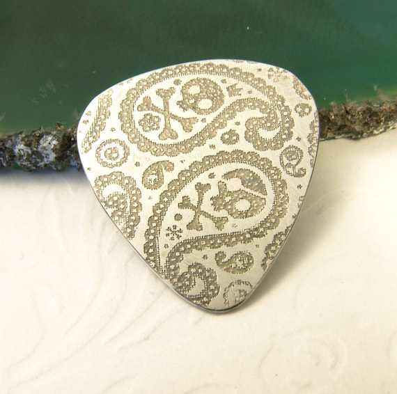 Guitar Pick -  Paisley and Skull Etched Guitar Pick - hand made by Inbar Bareket