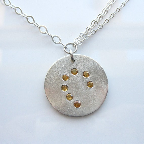 SALE - Reserved to Lori- Pendant sterling silver and 7 Citrine gemstones - hand made by Inbar Bareket