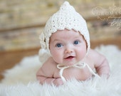 Cream color Pixie Hood   0-3 month size - READY TO SHIP