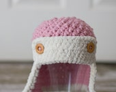 Pink aviator hat - size 12 months and up - Ready to ship