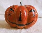 Halloween Pumpkin Doll Head - OOAK Handpainted Head For My Doll Pattern CS5 Candy Container (head no.5)