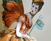 INSTANT Download - Hanging Halloween Decoration - Digital Halloween Ballerina Butterfly Fairy Paper Doll With Mask HP17H