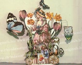 French Gardener Paper Doll Digital INSTANT Download - Printable Marie Antoinette Easter Spring Summer Decoration For Paper Crafts MA11M