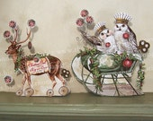 Christmas Paper Doll Party Decoration Or 3D Christmas Card  - Vintage Altered Reindeer And Owl Sleigh For Paper Crafts XP9X