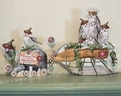 Christmas Paper Doll Party Decoration Or Digital Christmas Card - 3D Polar Bear And Owl Sleigh Instant Download XP10DP