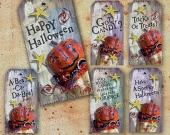Digital Halloween Tags - INSTANT Download - Pumpkin Head With Funny Sayings For Kids Crafts, Decorations, Scrapbooking, Embellishment CS4H
