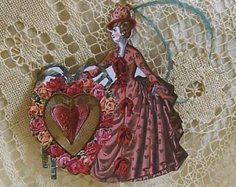 Digital Valentine's Day Paper Doll Or Bridal Shower Cake Topper - INSTANT DOWNLOAD - With Spinning Center Heart CS10V