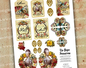 Digital Gold Butterfly Marie Antoinette Love Potion Labels, Tags INSTANT DOWNLOAD Printable Art Collage Sheet Paper Crafts CS12M