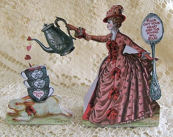 INSTANT Download - Printable Valentine Card  Or Decoration - 3D Vintage Style Magic Tea Lady Paper Doll With Bunny Teacup Teapot CS16V