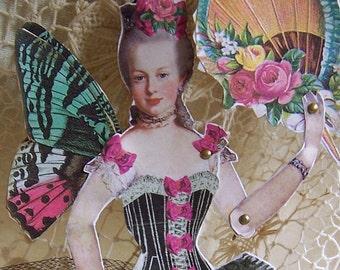 Digital Marie Antoinette Burlesque Dancer Paper Doll - INSTANT DOWNLOAD - Altered Art  Black Corset Butterfly Cabaret Girl CS20M