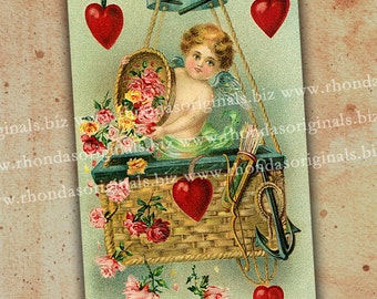 Valentine Cherub In Hot Air Balloon Postcard Digital INSTANT Download - ATC Aceo Scrapbooking Card Making Tags Paper Art And Crafts PC3PC