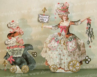 Digital Paper Doll Party Decoration Or Greeting Card - INSTANT Download - Marie Antoinette French Chef Cupcakes Squirrel Art MA2M