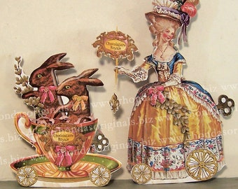 Easter Decoration - Marie Antoinette Paper Doll Table Decor Centerpiece - INSTANT DOWNLOAD - Easter Bunny Teacup Chocolate Lady MA15M
