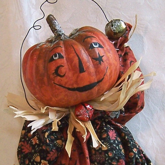 Halloween Doll - Unique Candy Container And A Keepsake Pumpkin Doll All In One