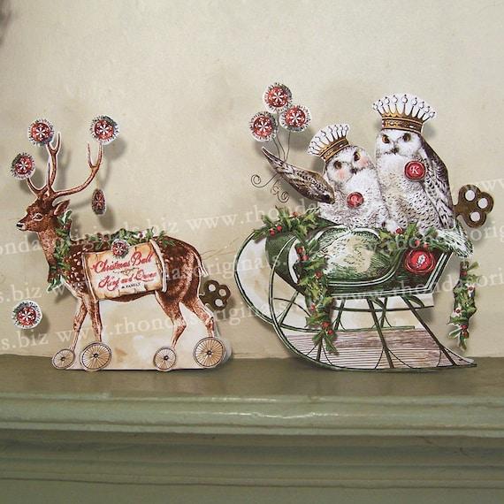 Christmas Paper Doll Decoration - Digital INSTANT Download - Vintage Altered Reindeer, Owl Sleigh XP9X