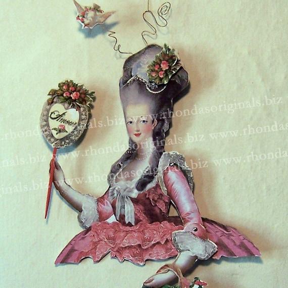 INSTANT Download - Digital Valentine Decoration Paper Doll - Marie Antoinette Torso, Many Embellishements For Paper Art, Crafts CS24V