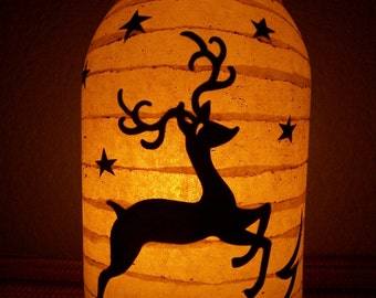 Grungy Primitive Christmas Reindeer Lantern Light Luminary Candle Holder Table Mantel Porch Wedding Gift Decor Decoration