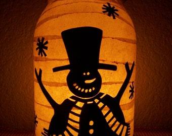 Grungy Primitive Christmas Snowman Lantern Light Luminary Candle Holder Centerpiece Table Mantel Porch Wedding Gift Winter